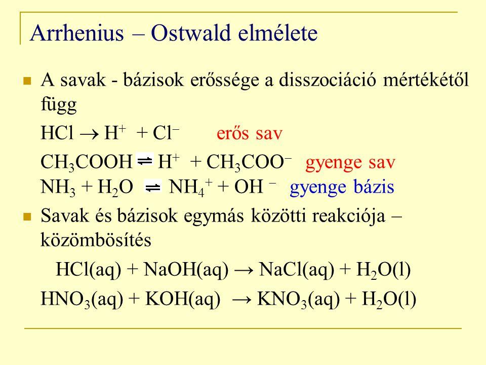 Arrhenius – Ostwald elmélete A savak - bázisok erőssége a disszociáció mértékétől függ HCl  H + + Cl  erős sav CH 3 COOH H + + CH 3 COO  gyenge sav NH 3 + H 2 O NH 4 + + OH  gyenge bázis Savak és bázisok egymás közötti reakciója – közömbösítés HCl(aq) + NaOH(aq) → NaCl(aq) + H 2 O(l) HNO 3 (aq) + KOH(aq) → KNO 3 (aq) + H 2 O(l)