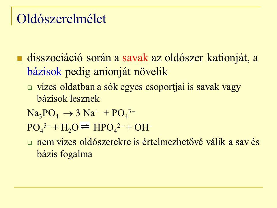 Oldószerelmélet disszociáció során a savak az oldószer kationját, a bázisok pedig anionját növelik  vizes oldatban a sók egyes csoportjai is savak vagy bázisok lesznek Na 3 PO 4  3 Na + + PO 4 3  PO 4 3  + H 2 O HPO 4 2  + OH   nem vizes oldószerekre is értelmezhetővé válik a sav és bázis fogalma