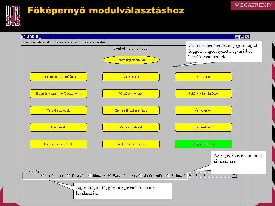 Főképernyő modulválasztáshoz Grafikus menürendszer, jogosultágtól függően engedélyezett, egymásból lenyíló menüpontok Jogosultágtól függően megjelenő