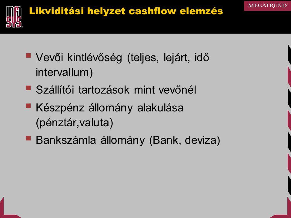 Likviditási helyzet cashflow elemzés  Vevői kintlévőség (teljes, lejárt, idő intervallum)  Szállítói tartozások mint vevőnél  Készpénz állomány ala