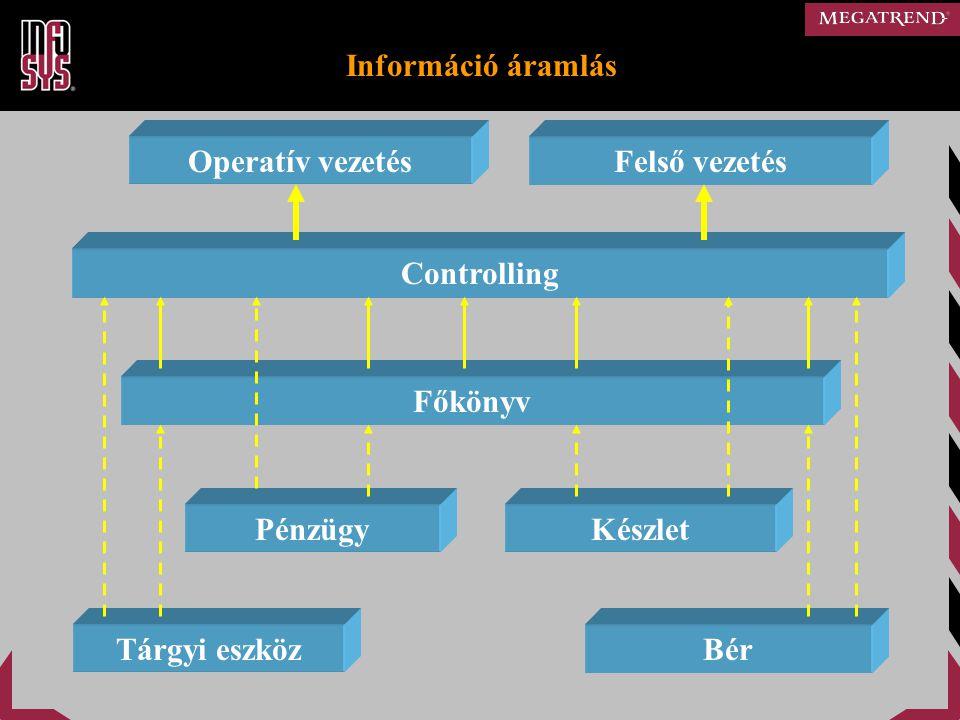 Controlling rendszer alapelvei  Adatforrás (analitika, könyvelés, beszámoló)  Előre definiált táblák, beépített algoritmusok  Alapmodulon kívüli modulok saját táblákkal  Saját jogosultsági paraméterezés  Kiszámított adatok megőrzése, exportálása  Tervkészítés és elemzés több változatban