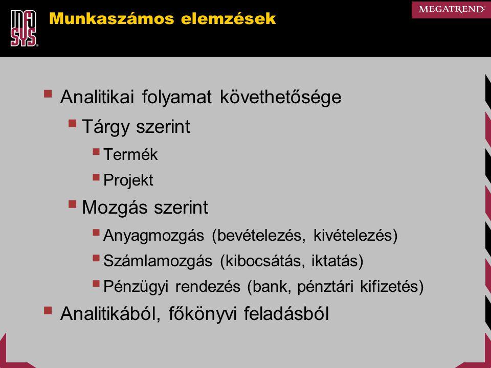 Munkaszámos elemzések  Analitikai folyamat követhetősége  Tárgy szerint  Termék  Projekt  Mozgás szerint  Anyagmozgás (bevételezés, kivételezés)