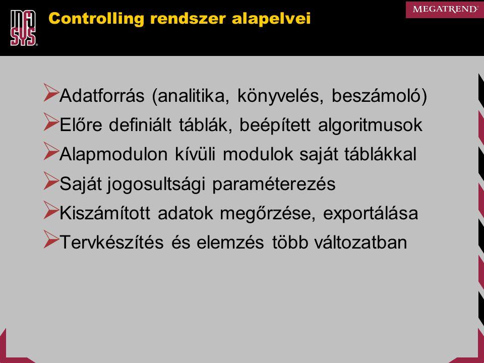 Controlling rendszer alapelvei  Adatforrás (analitika, könyvelés, beszámoló)  Előre definiált táblák, beépített algoritmusok  Alapmodulon kívüli mo