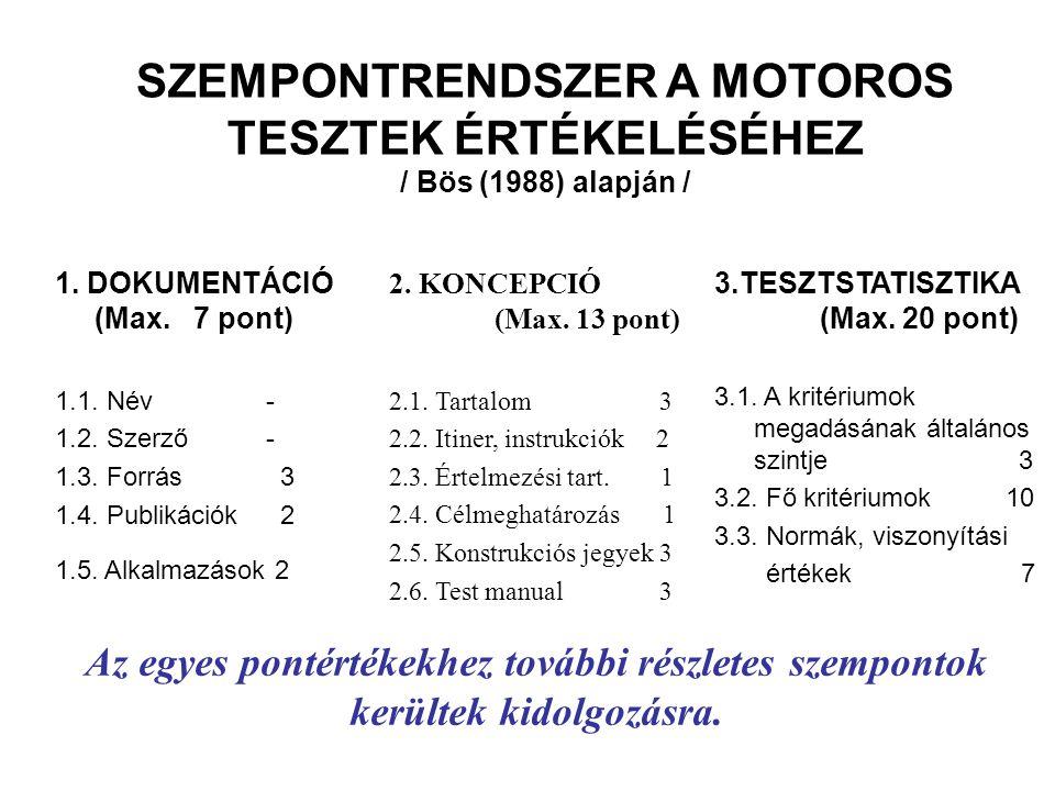 SZEMPONTRENDSZER A MOTOROS TESZTEK ÉRTÉKELÉSÉHEZ / Bös (1988) alapján / 1.