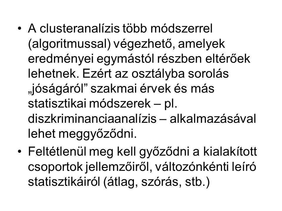 Első lépésként azt kell eldönteni, hogy a változók clusterezésére, vagy az estek/vizsgálati személyek clusterezésére van-e szükségünk.