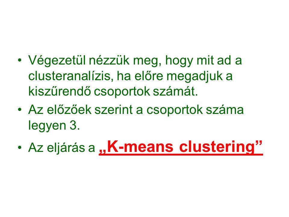 Végezetül nézzük meg, hogy mit ad a clusteranalízis, ha előre megadjuk a kiszűrendő csoportok számát.