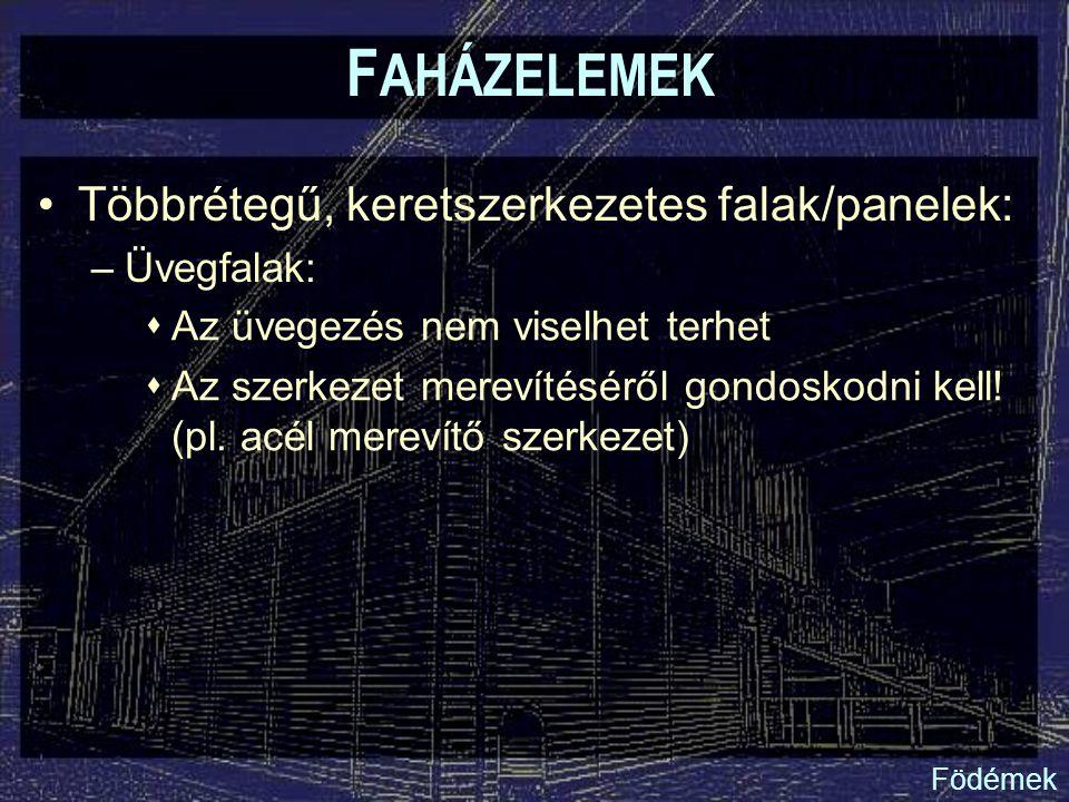 F AHÁZELEMEK Többrétegű, keretszerkezetes falak/panelek: –Üvegfalak:  Az üvegezés nem viselhet terhet  Az szerkezet merevítéséről gondoskodni kell!