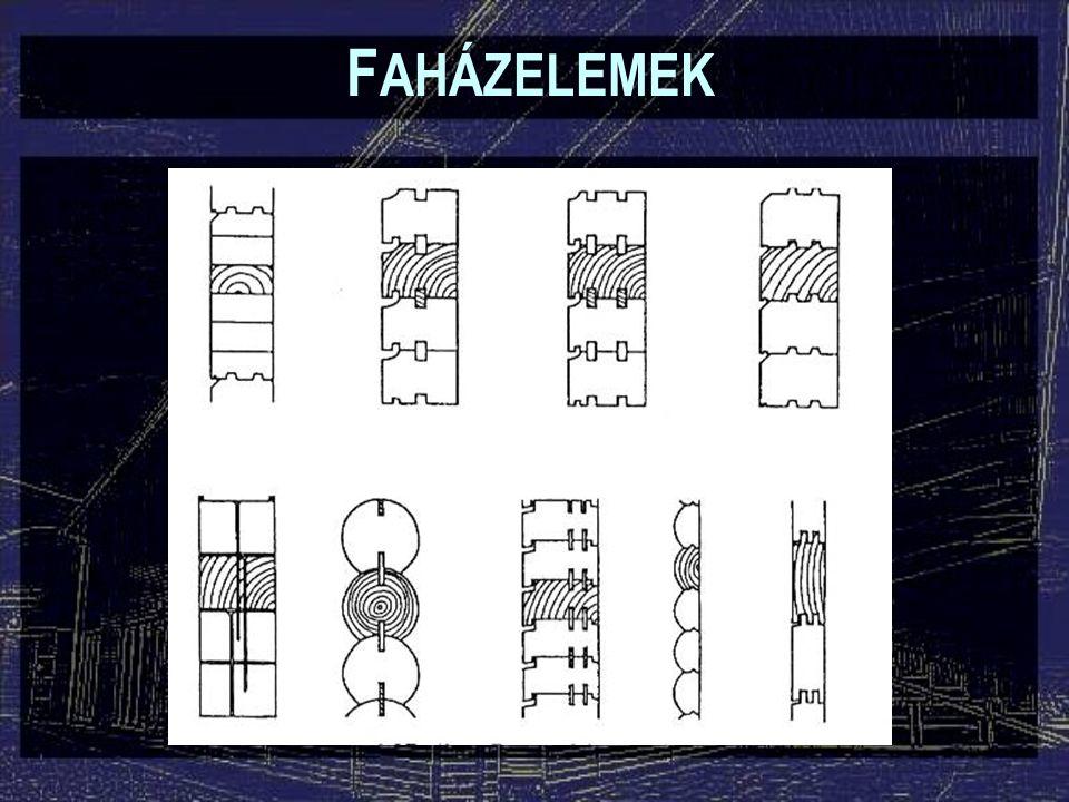 F AHÁZELEMEK Táblásított tömörfa falak: Tömör, rétegelt-ragasztott: –Szokásos vastagság: 7-12 cm –Hosszméret: a szállítási lehetőségektől függően