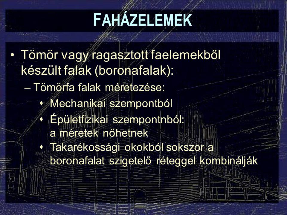 F AHÁZELEMEK Táblásított tömörfa falak: Többrétegű, váltakozó szálirányú tömör panelek: –Finnforest-Merk LenoTec építési rendszer:  S 10 lucfenyő alapanyag  Melamin-formaldehid műgyanta  Sűrűség: kb.