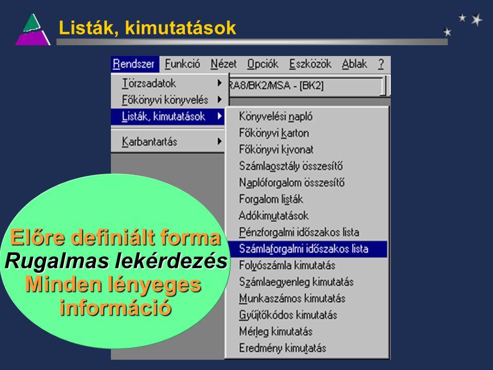 Listák, kimutatások Előre definiált forma Rugalmas lekérdezés Minden lényeges információ