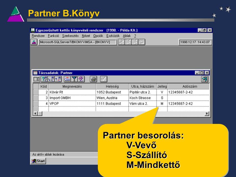 Partner B.Könyv Partner besorolás: V-VevőS-SzállítóM-Mindkettő V-VevőS-SzállítóM-Mindkettő