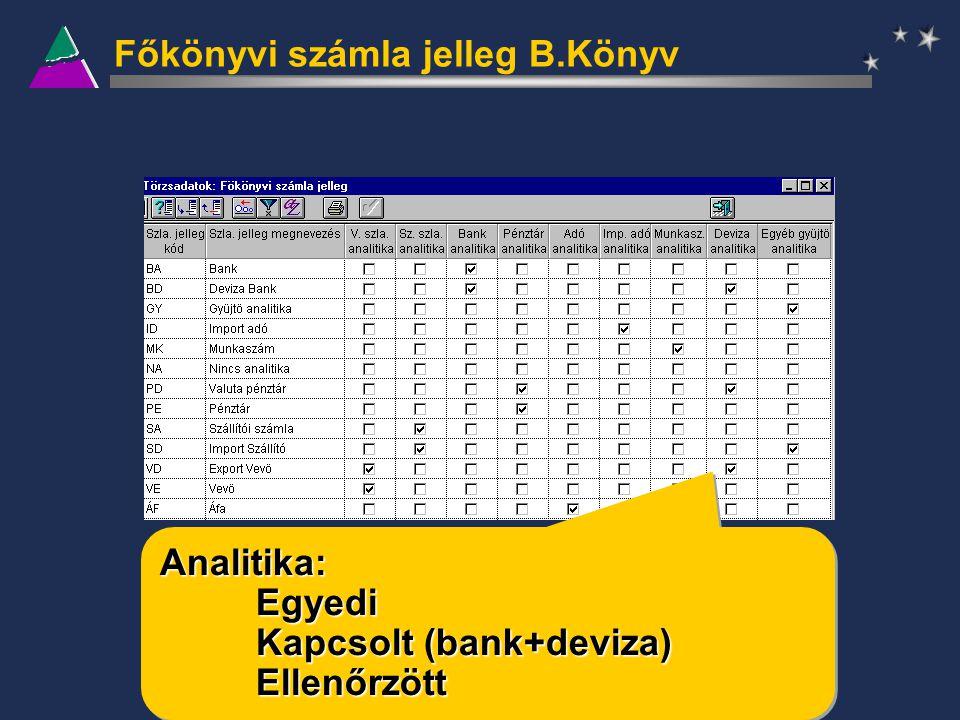 Főkönyvi számla jelleg B.Könyv Analitika:Egyedi Kapcsolt (bank+deviza) EllenőrzöttAnalitika:Egyedi Ellenőrzött