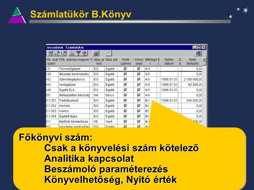 Számlatükör B.Könyv Főkönyvi szám: Csak a könyvelési szám kötelező Analitika kapcsolat Beszámoló paraméterezés Könyvelhetőség, Nyitó érték Főkönyvi sz