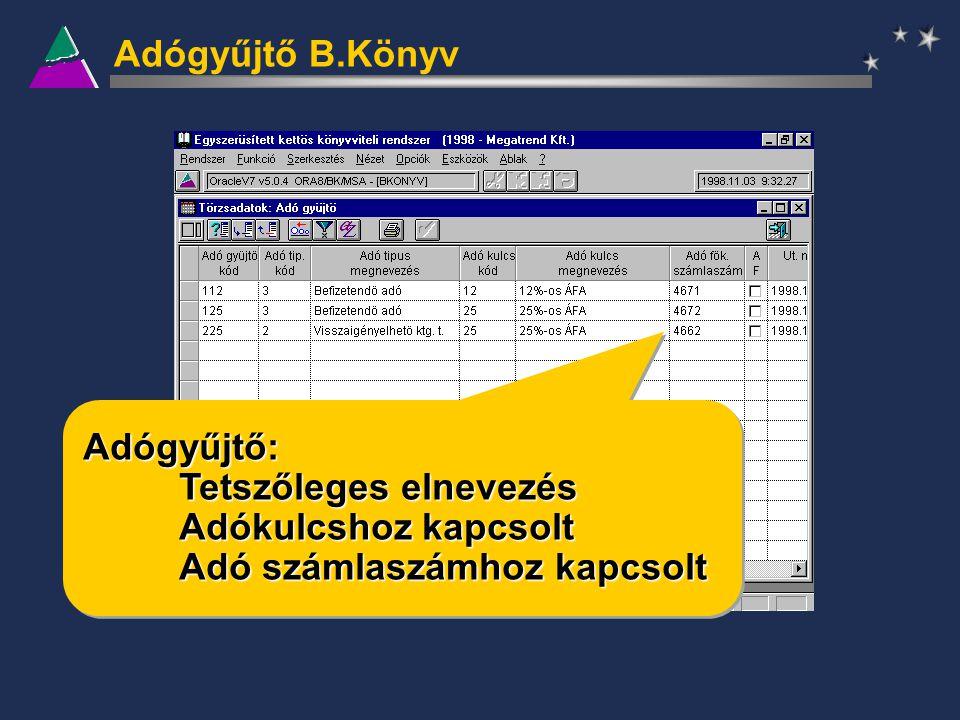 Adógyűjtő B.Könyv Adógyűjtő: Tetszőleges elnevezés Adókulcshoz kapcsolt Adó számlaszámhoz kapcsolt Adógyűjtő: Tetszőleges elnevezés Adókulcshoz kapcso