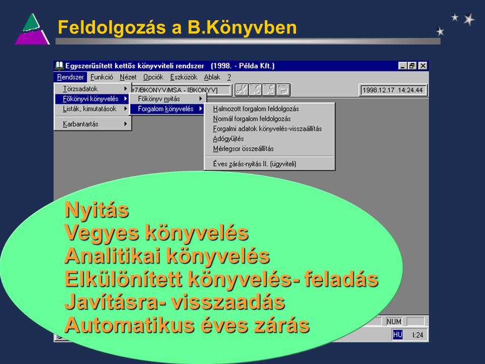 Feldolgozás a B.Könyvben Nyitás Vegyes könyvelés Analitikai könyvelés Elkülönített könyvelés- feladás Javításra- visszaadás Automatikus éves zárás