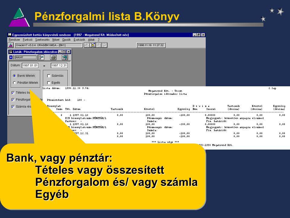 Pénzforgalmi lista B.Könyv Bank, vagy pénztár: Tételes vagy összesített Pénzforgalom és/ vagy számla Egyéb Bank, vagy pénztár: Tételes vagy összesítet
