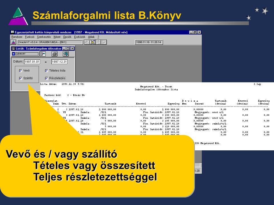 Számlaforgalmi lista B.Könyv Vevő és / vagy szállító Tételes vagy összesített Teljes részletezettséggel Vevő és / vagy szállító Tételes vagy összesíte