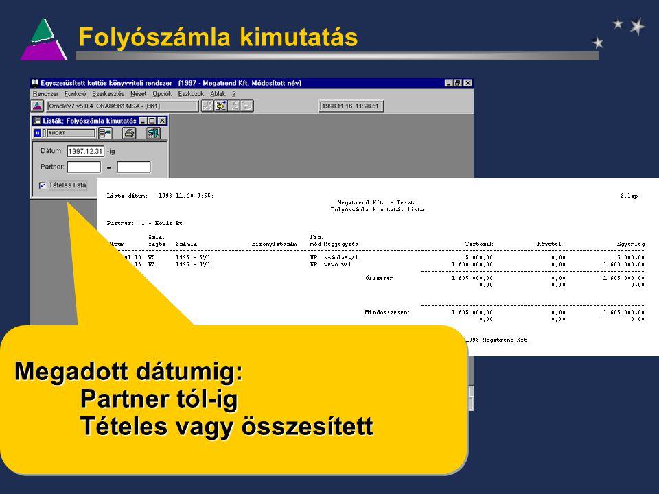 Folyószámla kimutatás Megadott dátumig: Partner tól-ig Tételes vagy összesített Megadott dátumig: Partner tól-ig Tételes vagy összesített
