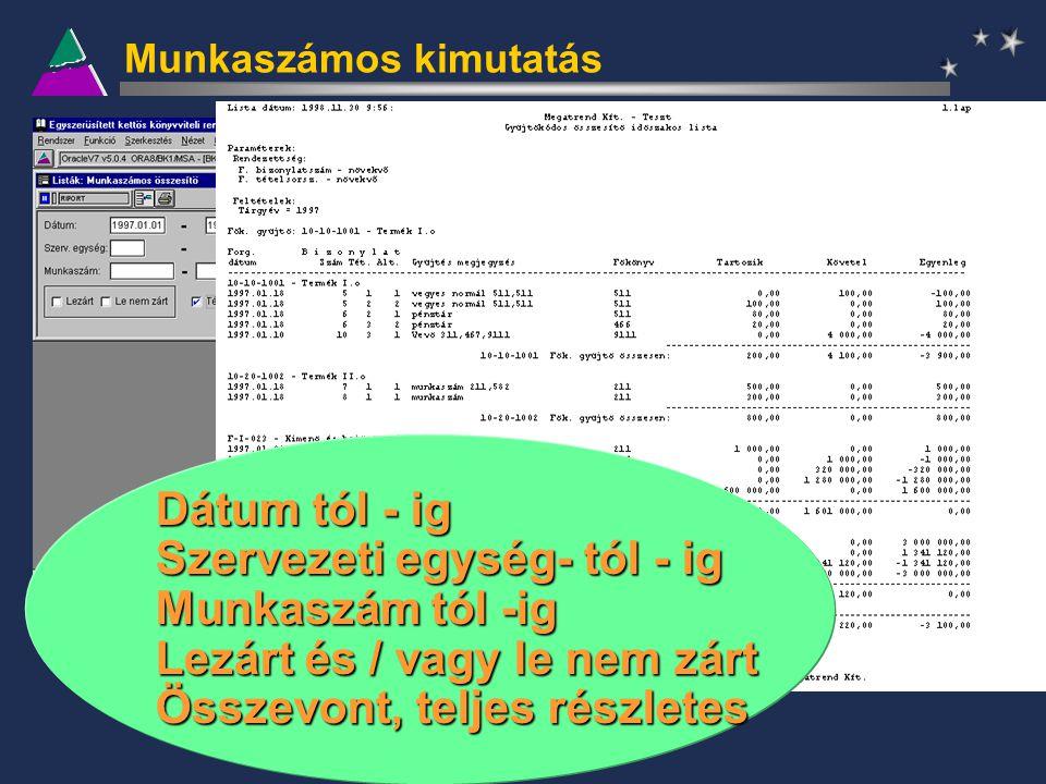 Munkaszámos kimutatás Dátum tól - ig Szervezeti egység- tól - ig Munkaszám tól -ig Lezárt és / vagy le nem zárt Összevont, teljes részletes