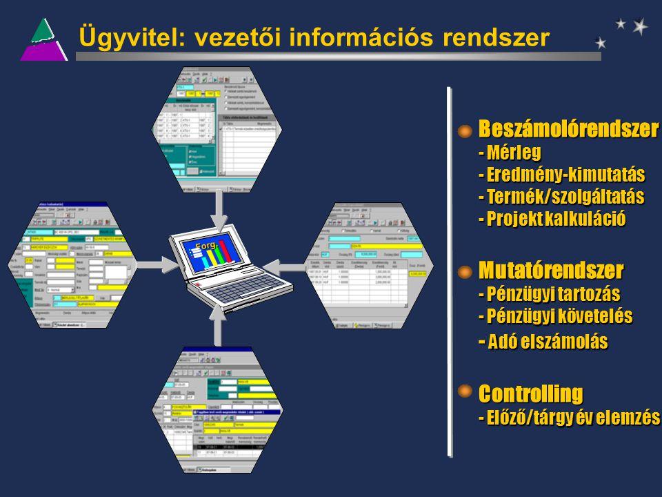Forg. Ügyvitel: vezetői információs rendszer Beszámolórendszer - Mérleg - Eredmény-kimutatás - Termék/szolgáltatás - Projekt kalkuláció Mutatórendszer