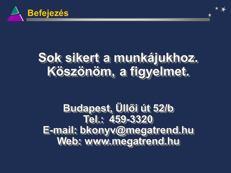 Befejezés Sok sikert a munkájukhoz. Köszönöm, a figyelmet. Budapest, Üllői út 52/b Tel.: 459-3320 E-mail: bkonyv@megatrend.hu Web: www.megatrend.hu So
