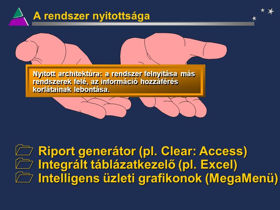 A rendszer nyitottsága Nyitott architektúra: a rendszer felnyitása más rendszerek felé, az információ hozzáférés korlátainak lebontása.  Riport gener