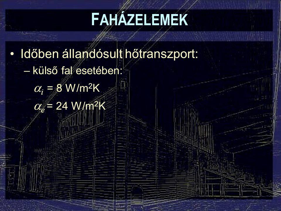 F AHÁZELEMEK Időben állandósult hőtranszport: –külső fal esetében:  i = 8 W/m 2 K  e = 24 W/m 2 K