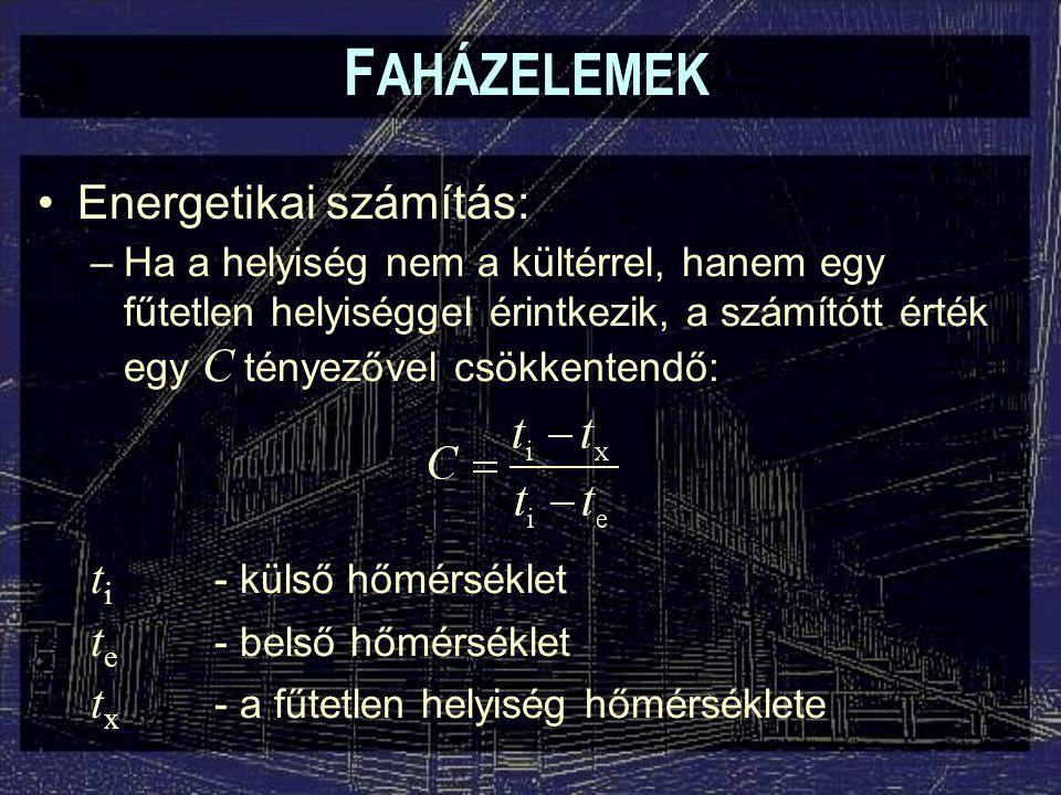 F AHÁZELEMEK –Ha a helyiség nem a kültérrel, hanem egy fűtetlen helyiséggel érintkezik, a számítótt érték egy C tényezővel csökkentendő: Energetikai s