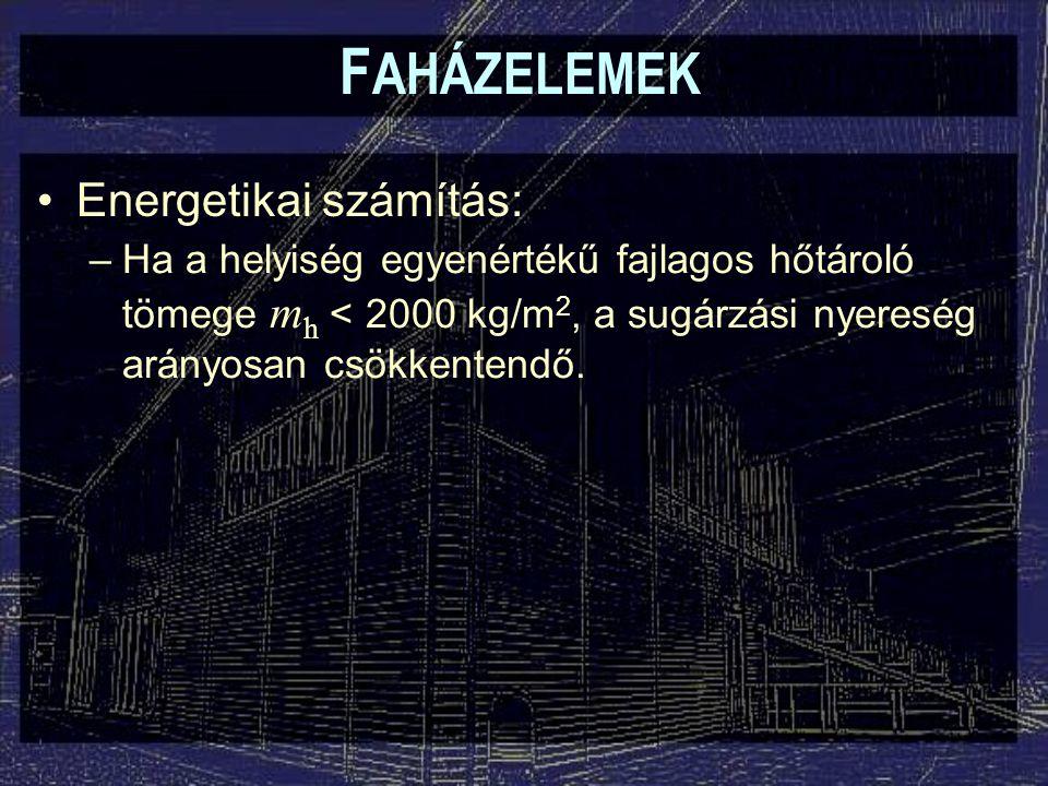 F AHÁZELEMEK –Ha a helyiség egyenértékű fajlagos hőtároló tömege m h < 2000 kg/m 2, a sugárzási nyereség arányosan csökkentendő. Energetikai számítás: