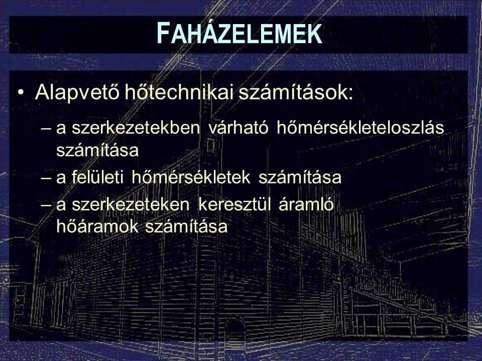 F AHÁZELEMEK Többdimenziós hőtranszport: –Vonalmenti hőátbocsátási tényező ( k l ):  Egy hőhidakat tartalmazó mező eredő hőátbocsátási tényezője:  - a mező felülete (m 2 ) k - a fal hőátbocsátási tényezője (W/m 2 K) L - a hőhíd hossza (m)