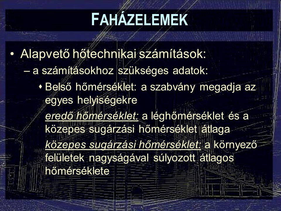 F AHÁZELEMEK Alapvető hőtechnikai számítások: –a számításokhoz szükséges adatok:  Külső hőmérséklet télen: éghajlati területtől függően -11  C ~ -15  C felületi hőmérséklet számításához: -5  C  Legmagasabb tervezési hőmérséklet Magyarországon: 30  C