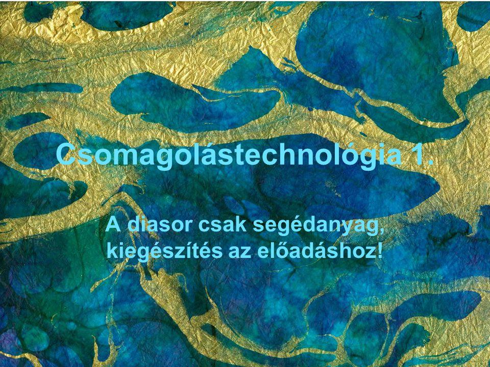 Csomagolástechnológia 1. A diasor csak segédanyag, kiegészítés az előadáshoz!