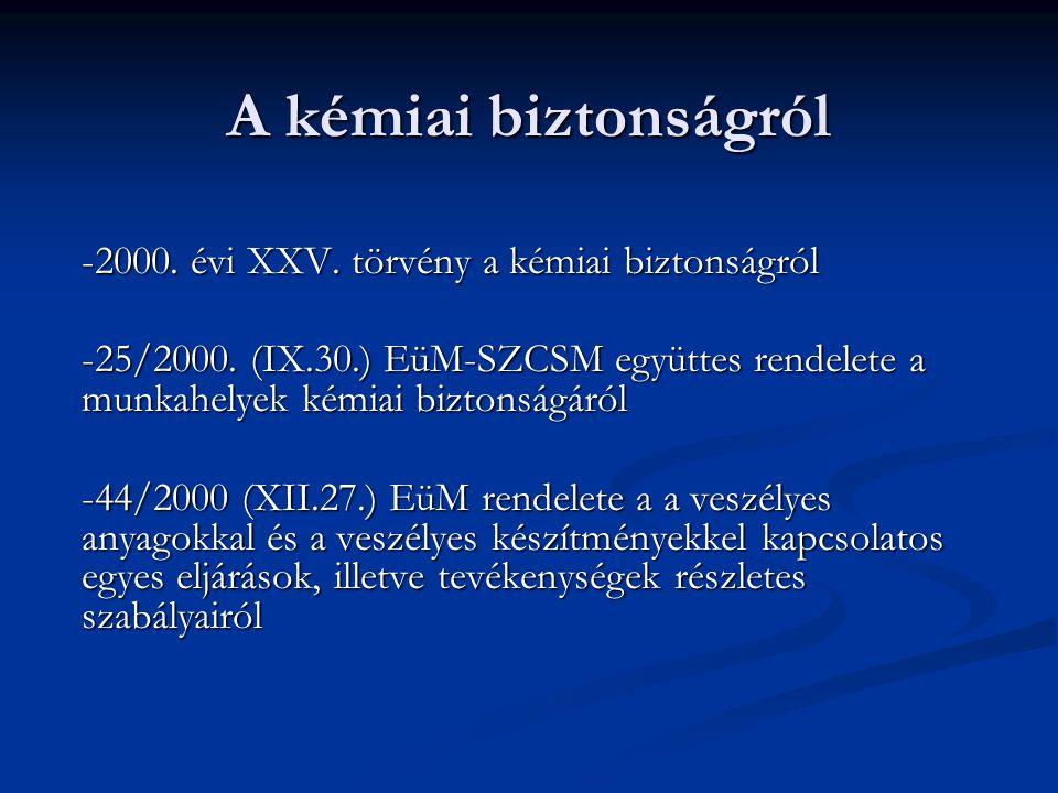 A kémiai biztonságról -2000. évi XXV. törvény a kémiai biztonságról -25/2000. (IX.30.) EüM-SZCSM együttes rendelete a munkahelyek kémiai biztonságáról