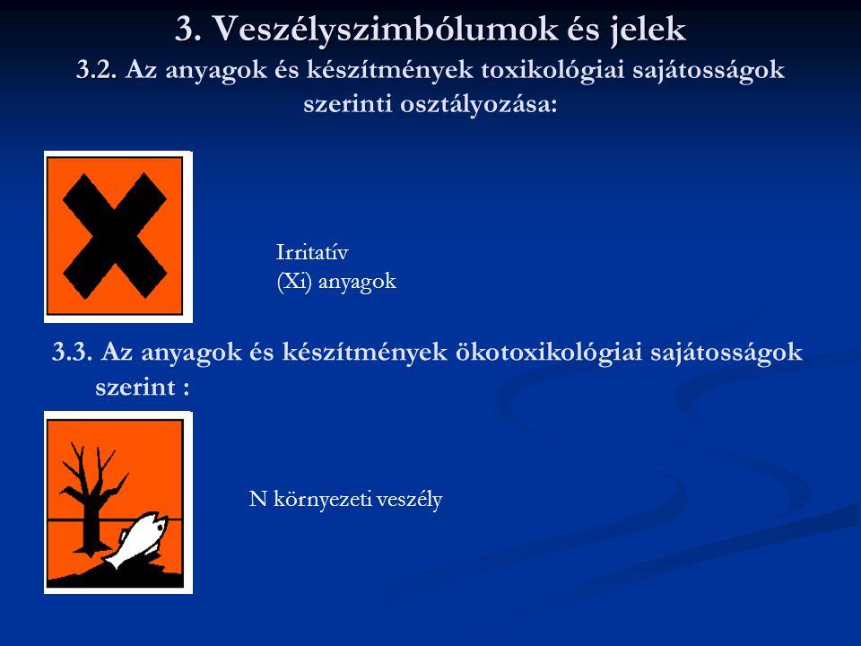 3. Veszélyszimbólumok és jelek 3.2. 3. Veszélyszimbólumok és jelek 3.2. Az anyagok és készítmények toxikológiai sajátosságok szerinti osztályozása: Ir