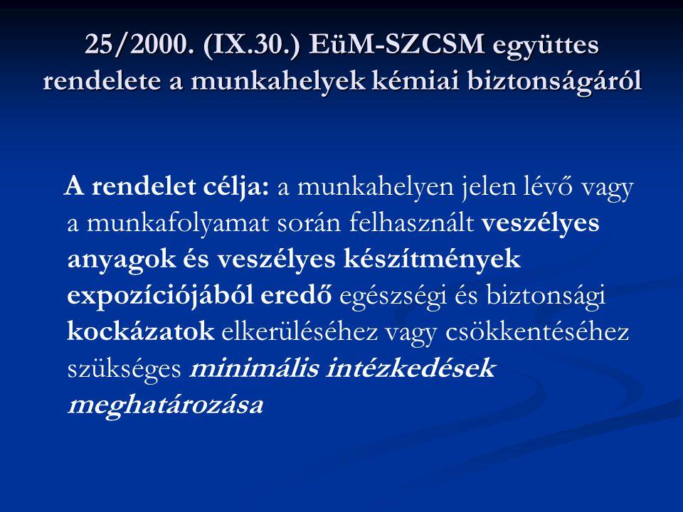 25/2000. (IX.30.) EüM-SZCSM együttes rendelete a munkahelyek kémiai biztonságáról A rendelet célja: a munkahelyen jelen lévő vagy a munkafolyamat sorá