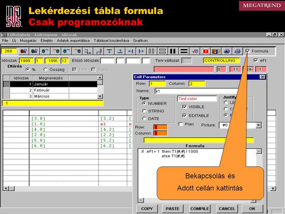Lekérdezési tábla formula Csak programozóknak Bekapcsolás és Adott cellán kattintás
