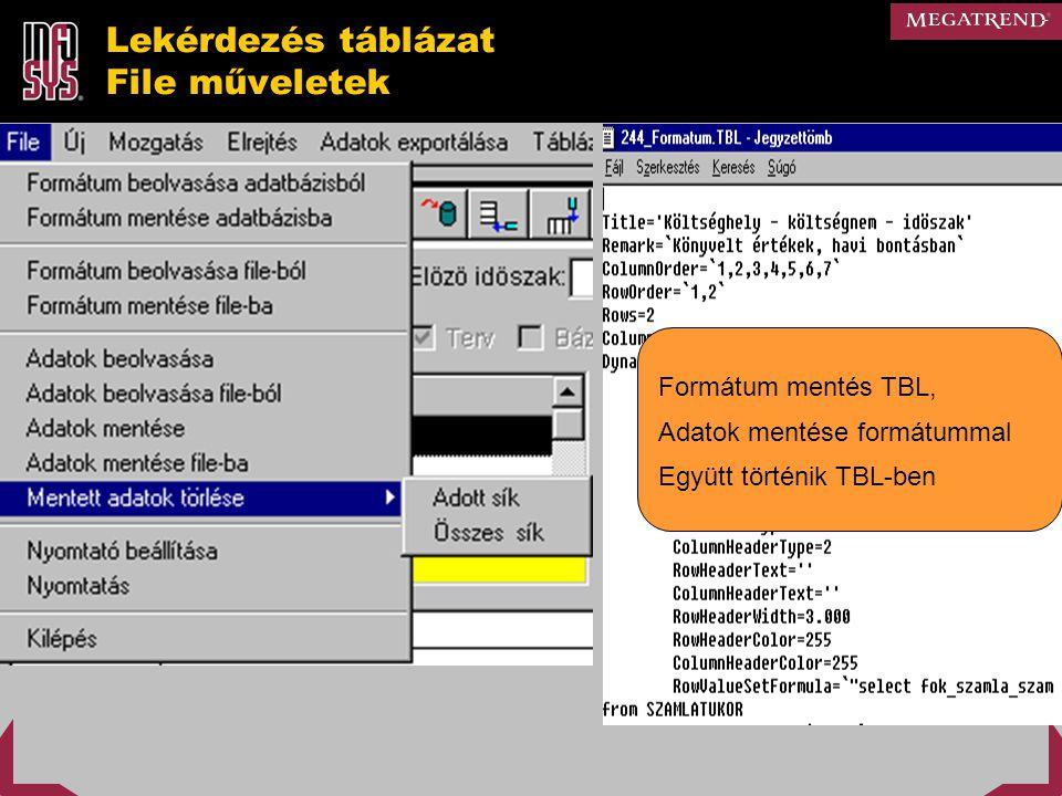 Lekérdezés táblázat File műveletek Formátum mentés TBL, Adatok mentése formátummal Együtt történik TBL-ben