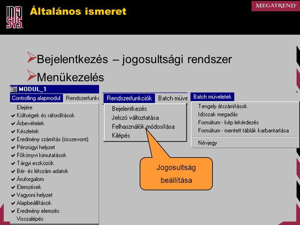 Általános ismeret  Bejelentkezés – jogosultsági rendszer  Menükezelés Jogosultság beállítása