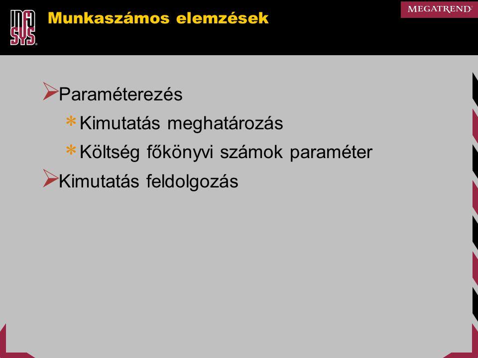 Munkaszámos elemzések  Paraméterezés  Kimutatás meghatározás  Költség főkönyvi számok paraméter  Kimutatás feldolgozás