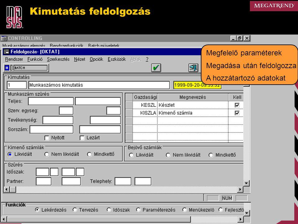 Kimutatás feldolgozás Megfelelő paraméterek Megadása után feldolgozza A hozzátartozó adatokat