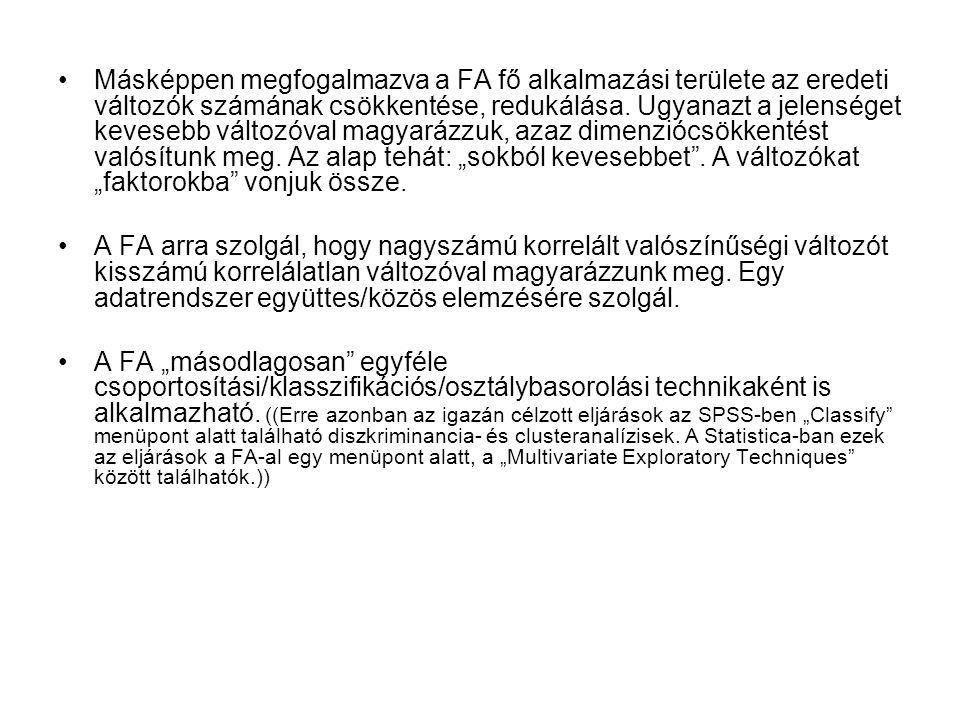Másképpen megfogalmazva a FA fő alkalmazási területe az eredeti változók számának csökkentése, redukálása.