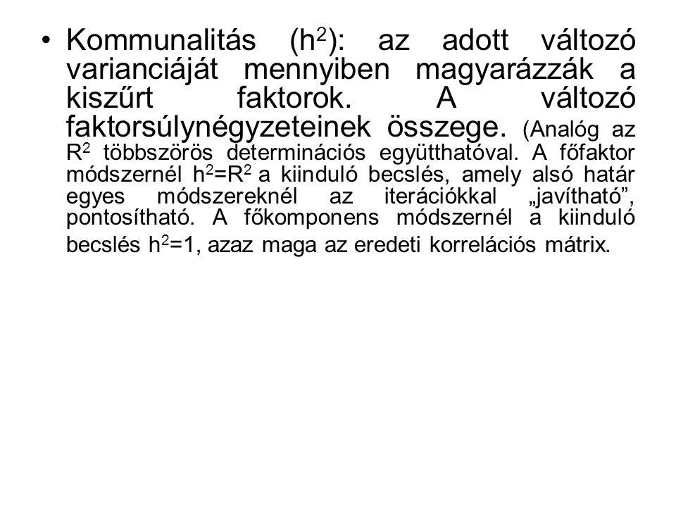 Kommunalitás (h 2 ): az adott változó varianciáját mennyiben magyarázzák a kiszűrt faktorok. A változó faktorsúlynégyzeteinek összege. (Analóg az R 2