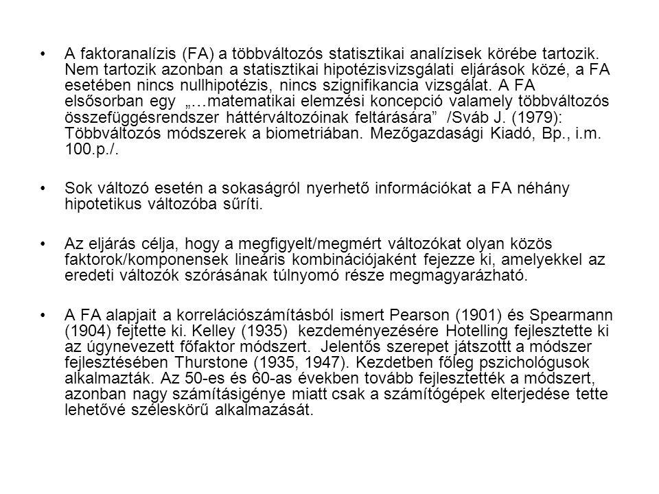A faktoranalízis (FA) a többváltozós statisztikai analízisek körébe tartozik. Nem tartozik azonban a statisztikai hipotézisvizsgálati eljárások közé,