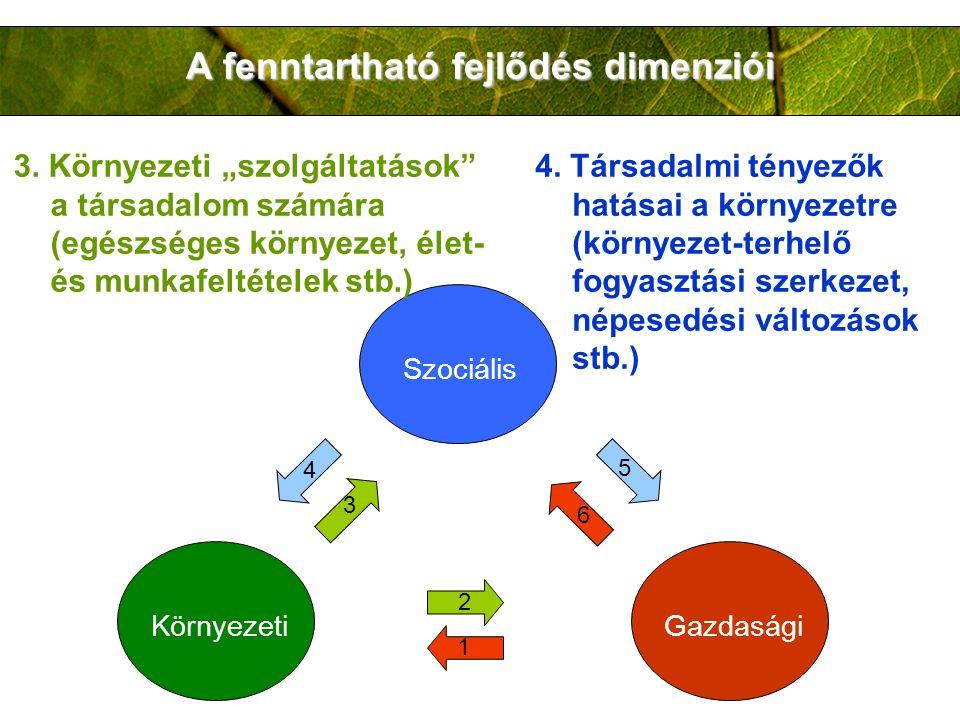 A fenntartható fejlődés dimenziói Szociális KörnyezetiGazdasági 2 1 3 4 5 6 3.