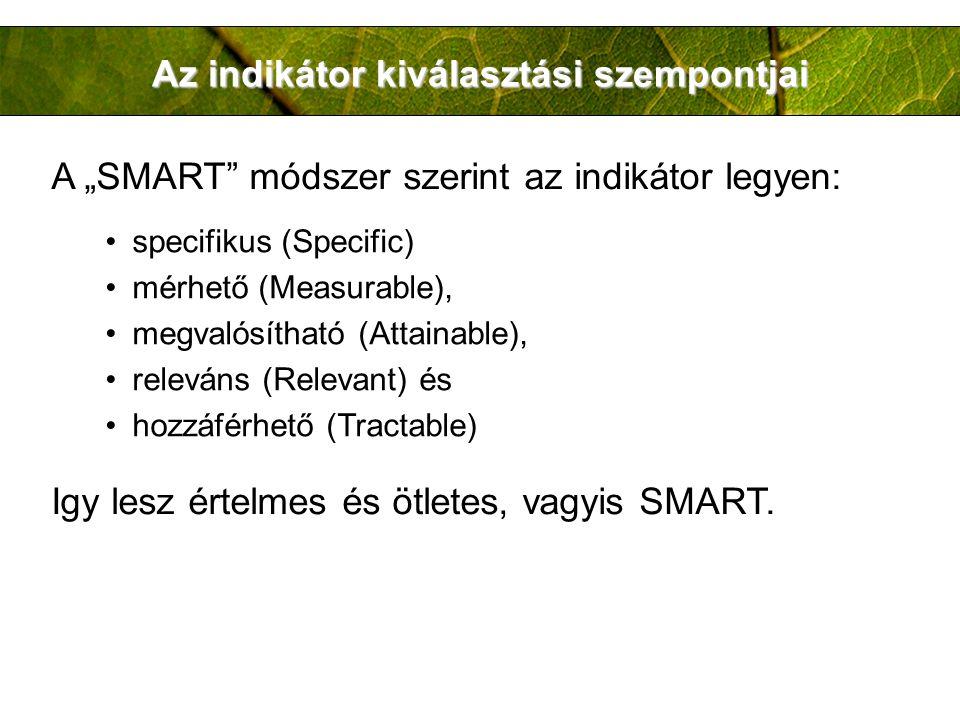 Az indikátor kiválasztási szempontjai specifikus (Specific) mérhető (Measurable), megvalósítható (Attainable), releváns (Relevant) és hozzáférhető (Tr