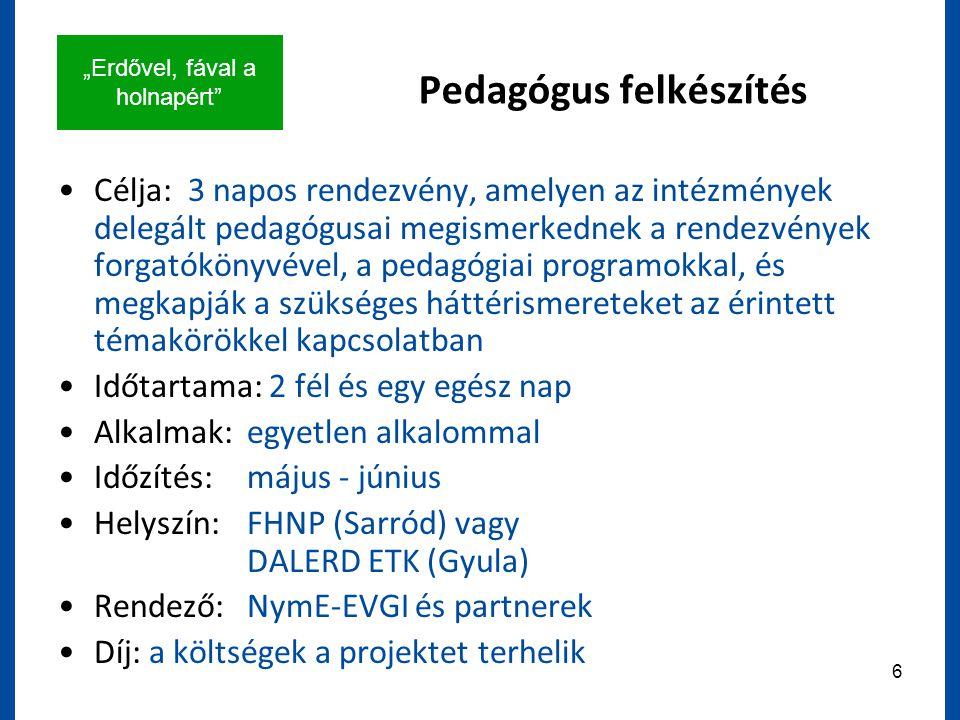 """""""Erdővel, fával a holnapért 6 Pedagógus felkészítés Célja: 3 napos rendezvény, amelyen az intézmények delegált pedagógusai megismerkednek a rendezvények forgatókönyvével, a pedagógiai programokkal, és megkapják a szükséges háttérismereteket az érintett témakörökkel kapcsolatban Időtartama: 2 fél és egy egész nap Alkalmak:egyetlen alkalommal Időzítés:május - június Helyszín:FHNP (Sarród) vagy DALERD ETK (Gyula) Rendező:NymE-EVGI és partnerek Díj: a költségek a projektet terhelik"""
