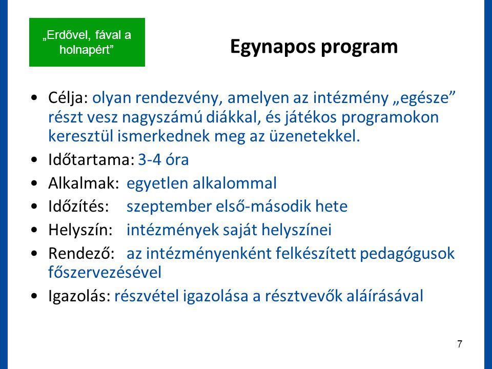 """""""Erdővel, fával a holnapért 7 Egynapos program Célja: olyan rendezvény, amelyen az intézmény """"egésze részt vesz nagyszámú diákkal, és játékos programokon keresztül ismerkednek meg az üzenetekkel."""