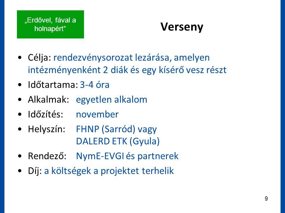"""""""Erdővel, fával a holnapért 9 Verseny Célja: rendezvénysorozat lezárása, amelyen intézményenként 2 diák és egy kísérő vesz részt Időtartama: 3-4 óra Alkalmak:egyetlen alkalom Időzítés: november Helyszín:FHNP (Sarród) vagy DALERD ETK (Gyula) Rendező:NymE-EVGI és partnerek Díj: a költségek a projektet terhelik"""