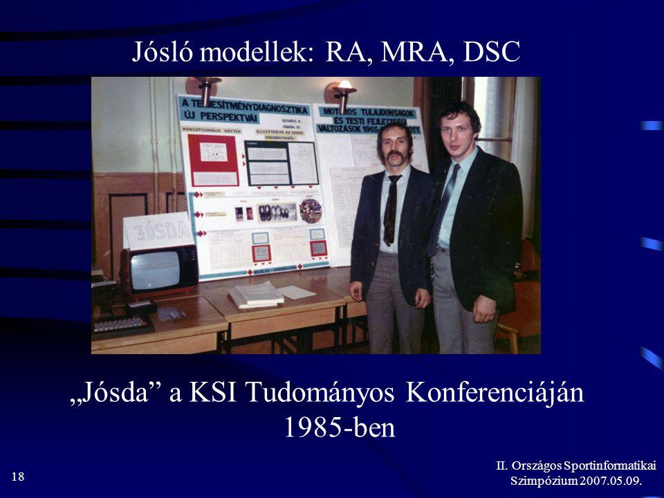 """II. Országos Sportinformatikai Szimpózium 2007.05.09. 18 Jósló modellek: RA, MRA, DSC """"Jósda"""" a KSI Tudományos Konferenciáján 1985-ben"""