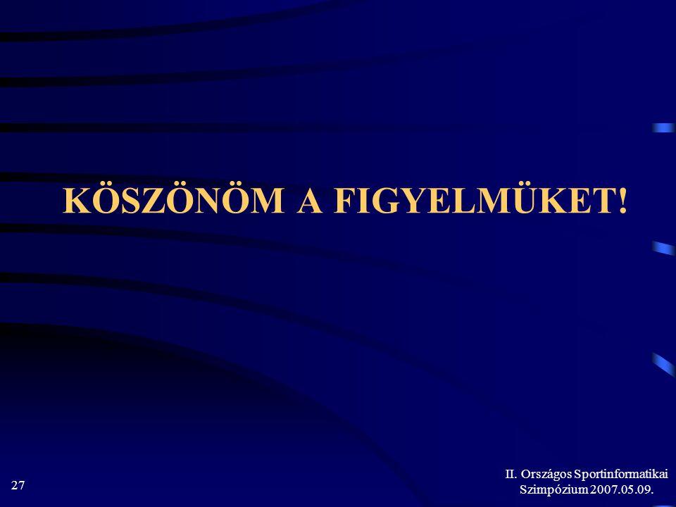 II. Országos Sportinformatikai Szimpózium 2007.05.09. 27 KÖSZÖNÖM A FIGYELMÜKET!